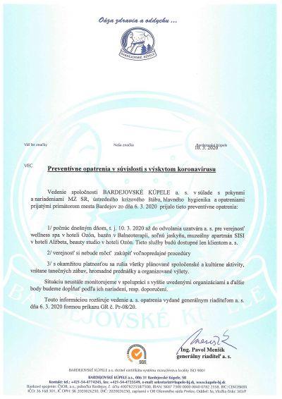 Preventívne opatrenia v súvislosti s výskytom koronavírusu pre verejnosť